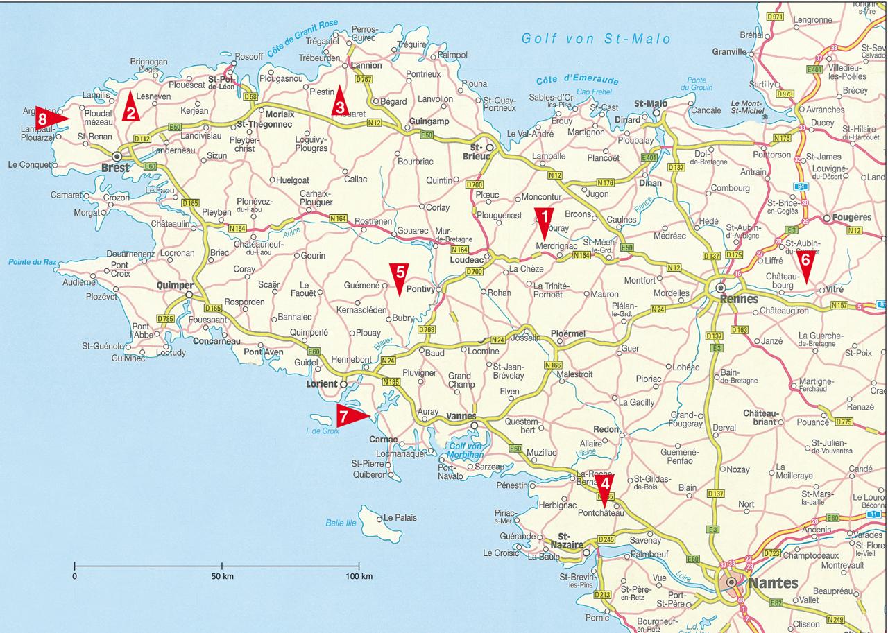landkarte bretagne Reiseführer: Funktion der Landkarten – Menhire der Bretagne landkarte bretagne